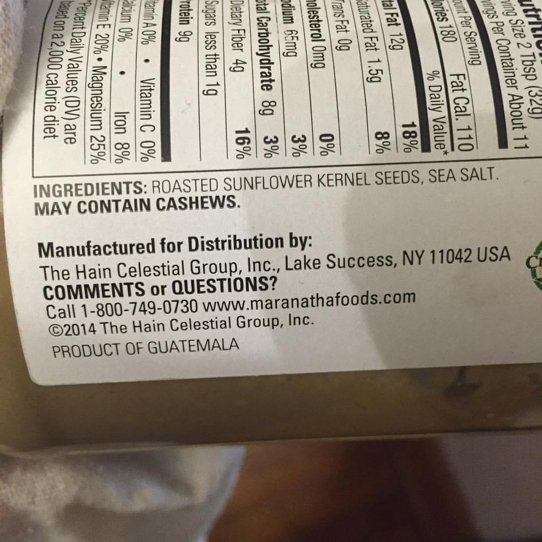 Sunflower butter label