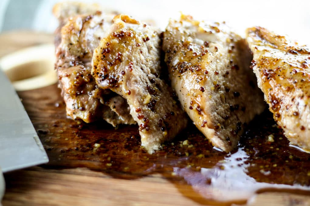 mustard maple glazed pork loin