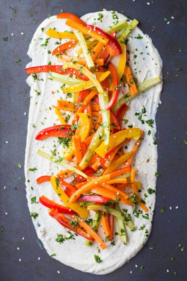 greek yogurt tahini dip with vegetables