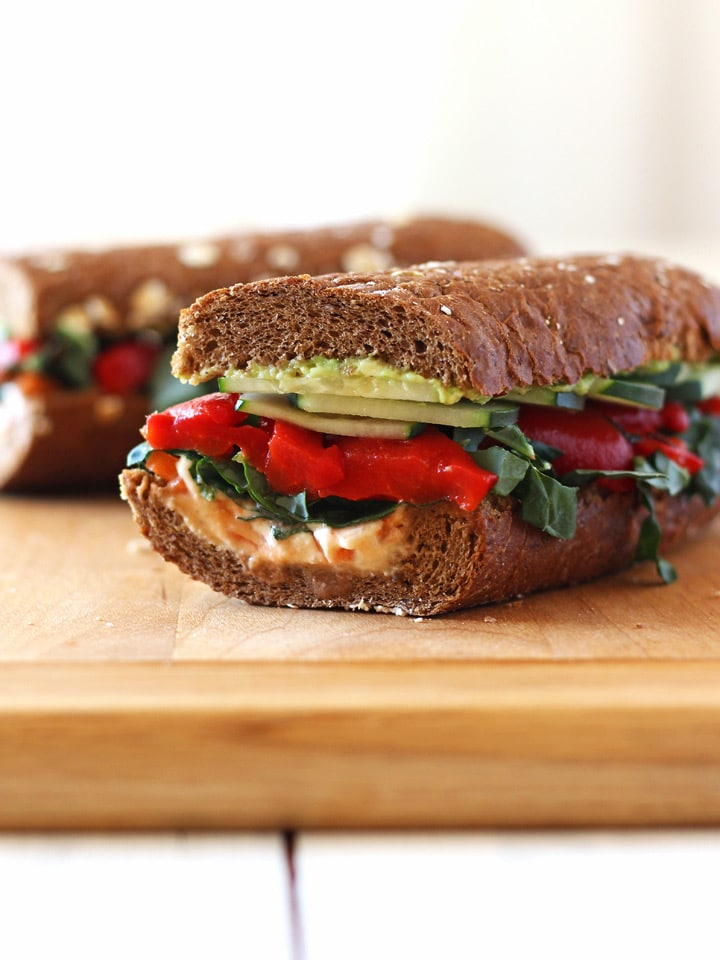 Roasted Red Pepper, Carrot, and Hummus Sandwich