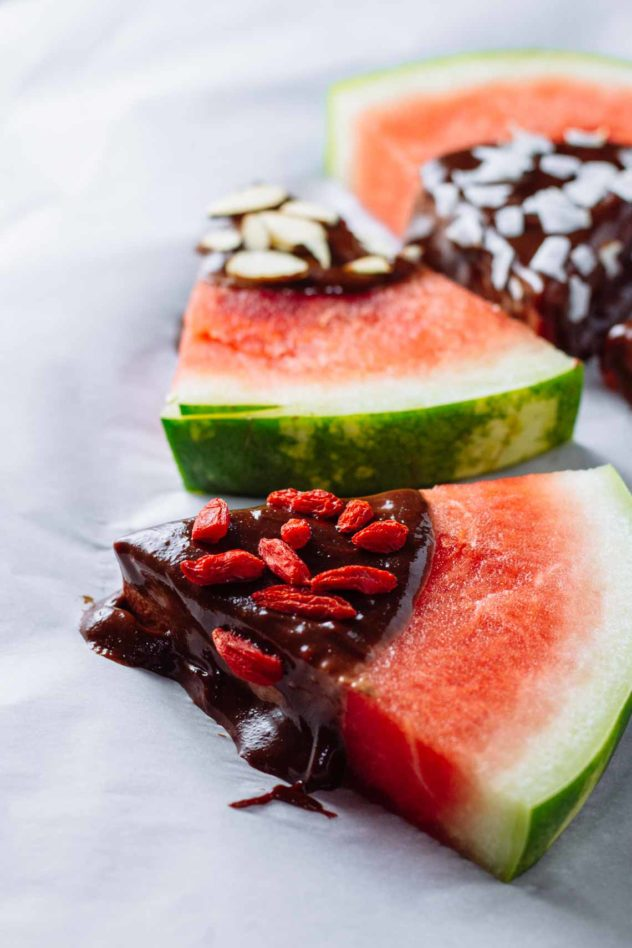 tahini chocolate dipped watermelon wedges