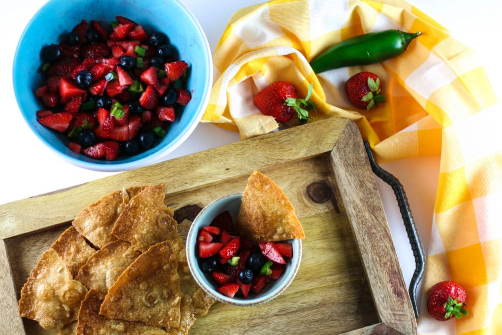 fruit salsa with gluten free cinnamon chips